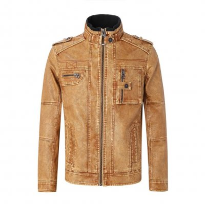 Top Quality 100% PU Leather Selling Men Winter Sheep Leather Jacket