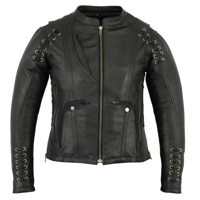 Wholesaler Fashion Women Genuine Leather Jacket with Zippers