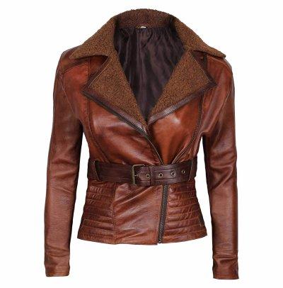 Long Sleeve Winter Use Women Leather Jacket Custom Made Fashion Leathers Jacket